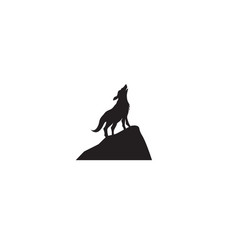 wolf night black logo and symbol vector image
