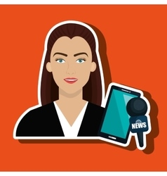 Woman news smartphone reportage vector
