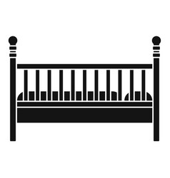 wood baby bed icon simple style vector image