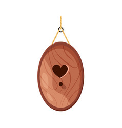 wooden handmade bird house oval shape and heart vector image
