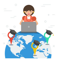 worldwide online and distance education vector image