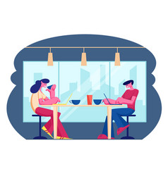 young people visiting cafe and hospitality concept vector image