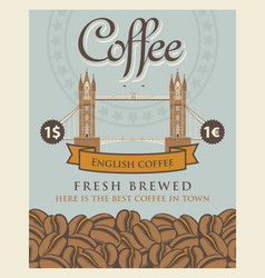 banner with coffee beans and london tower bridge vector image