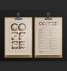 coffee shop menu template vector image vector image