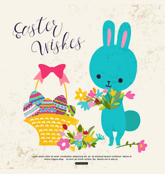 easter greeting card with cute bunny flower basket vector image vector image