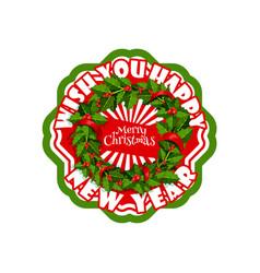 merry christmas wish wreath decoration icon vector image vector image