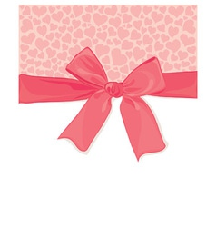 background with a bow and hearts vector image vector image