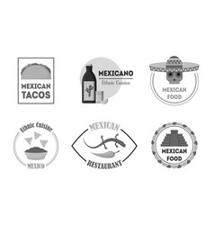 cartoon silhouette black mexican food badges or vector image vector image