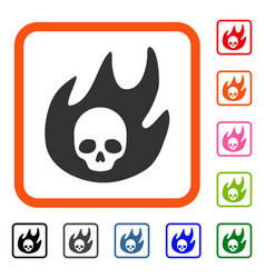 hell fire framed icon vector image