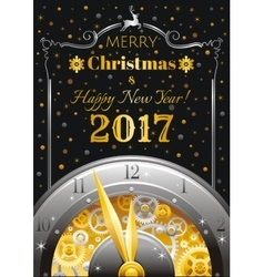 Merry Christmas and New year 2017 flyer Greeting vector image vector image
