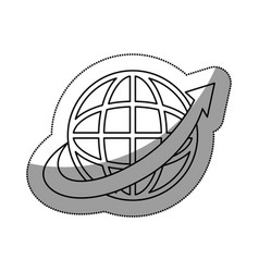sphere with arrow around isolated icon vector image vector image