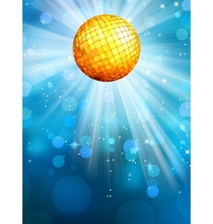 Blue background with disco ball EPS 10 vector image