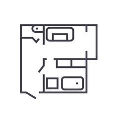 blueprintflat house plan line icon sign vector image