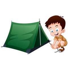 Boy scout with camping tent vector image