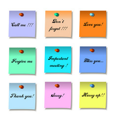 colored set of sticky notes memo flat design vector image