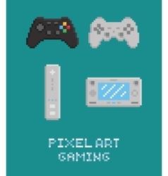 pixel art - modern gamepads vector image