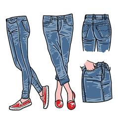 Woman jeans denim clothes vector image vector image