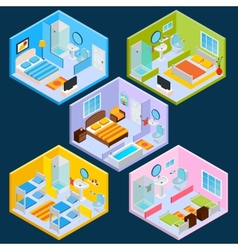 Isometric Hotel Interior vector image vector image