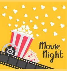 Popcorn popping big movie reel ticket admit one vector