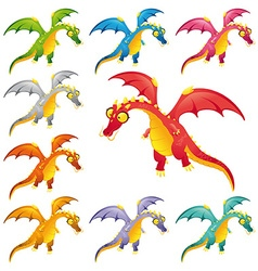 Set of colored dragons vector image vector image
