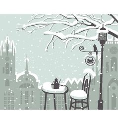 street cafe in the winter vector image vector image