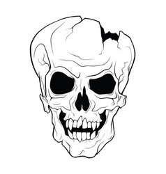 the skull of a grinning vampire monochrome vector image