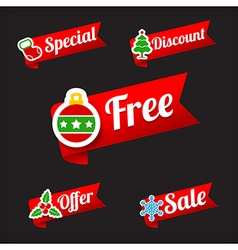 030 Collection of Christmas Sale red and green web vector image