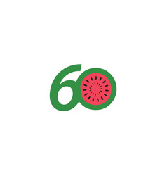 60 year anniversary fruit number template design vector