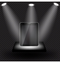Abstract design tablet on black shelve on metal vector image vector image