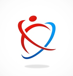 Abstract people sport fitness logo vector
