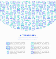 Advertising concept with thin line icons vector