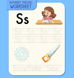 alphabet tracing worksheet with letter s and s vector image