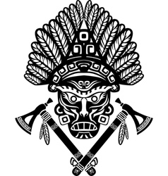 american indian mask with headdress feathers vector image