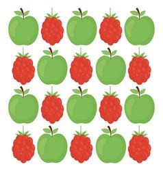 apples and blackberries fresh fruits pattern vector image