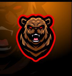 bear head mascot esport logo design vector image