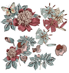beautiful hand drawn flowers for design vector image