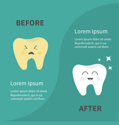 Before after infographic healthy smiling tooth vector