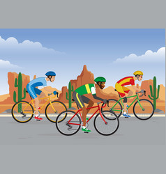 bicycle race in road with desert background vector image