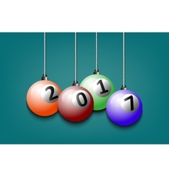 Billiard ball and 2017 hanging on strings vector image