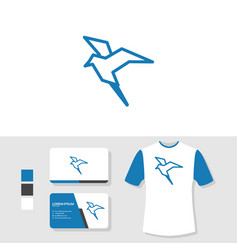 bird logo design with business card and t shirt vector image