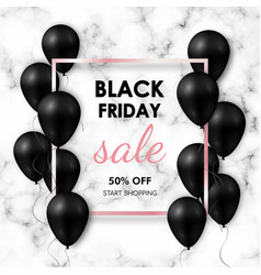 black friday sale banner shiny black balloons on vector image