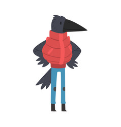 Black raven wearing warm winter clothes humanized vector