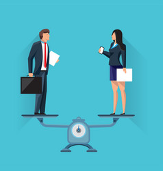 businesspeople standing on scales in balance vector image