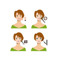 cartoon female short haircut makeup steps vector image