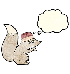 Cartoon squirrel wearing hat with thought bubble vector