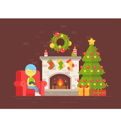 Christmas fireplace girl vector