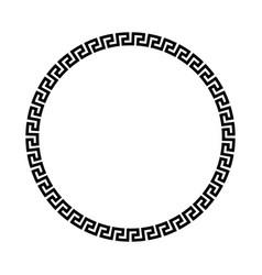 circle frame of simple greek pattern black vector image