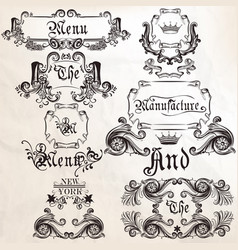 collection of antique elements frames and swirls vector image