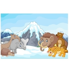 Collection of ice age animals animals against a ba vector