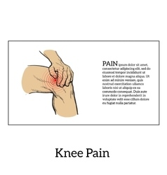 Color of knee pain Hands holding leg vector image
